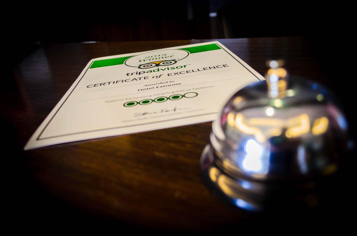 Награда за Хотел Екстрийм Пампорово от TripAdvisor