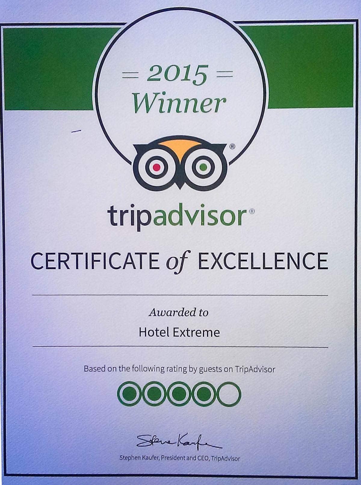 TripAdvisor certificate Хотел Екстрийм, Пампорово